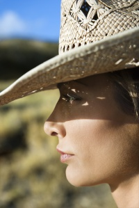 Woman in straw hat.